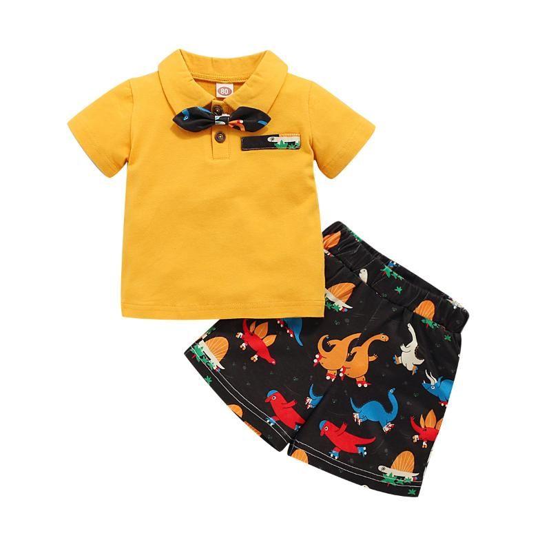 Estate Boy Set Rosa Giallo shirt + shorts Completi per bambini Moda bambini Gentle Suits Kids Clothes