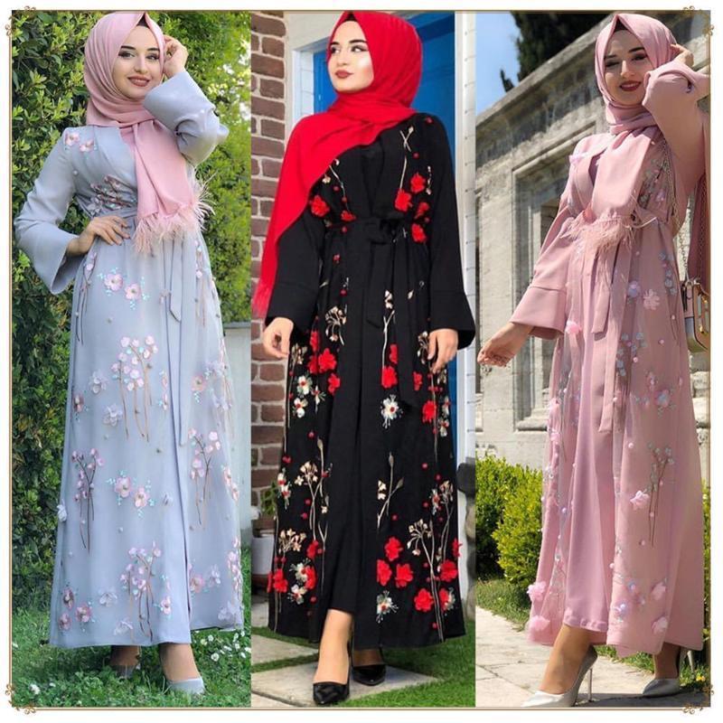 Etnik Giyim 2021 kadın Müslüman Elbise Çiçek Turkish Kimono Dubai Başörtüsü Abayas Kaftan Kaftan Marocain Namaz İslam Bornoz