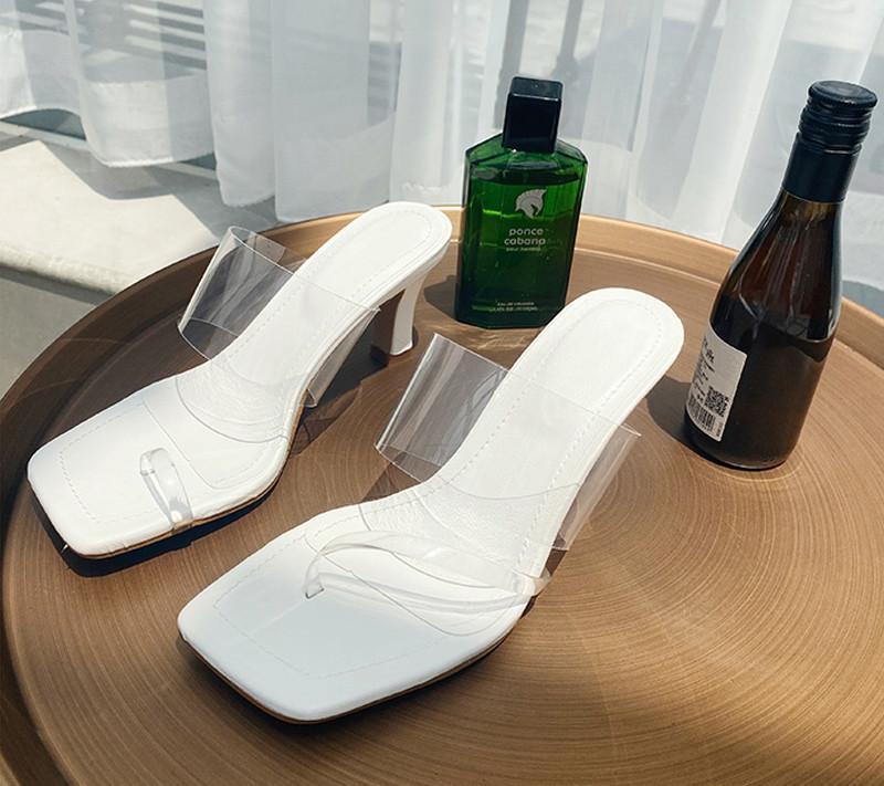 Pvc Transparen Mulheres Chinelo 2020 Verão de alta qualidade vestido elegante Shoes Slides Senhoras Sandal Outdoor Shoes
