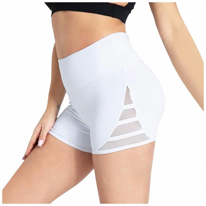 De cintura alta Deportes entrenamiento corto Ejecución de yoga de la aptitud Mujer Leggings Pantalones cortos de malla costura Abdomen Control de gimnasia yoga polainas 5W3 ZXn6 #