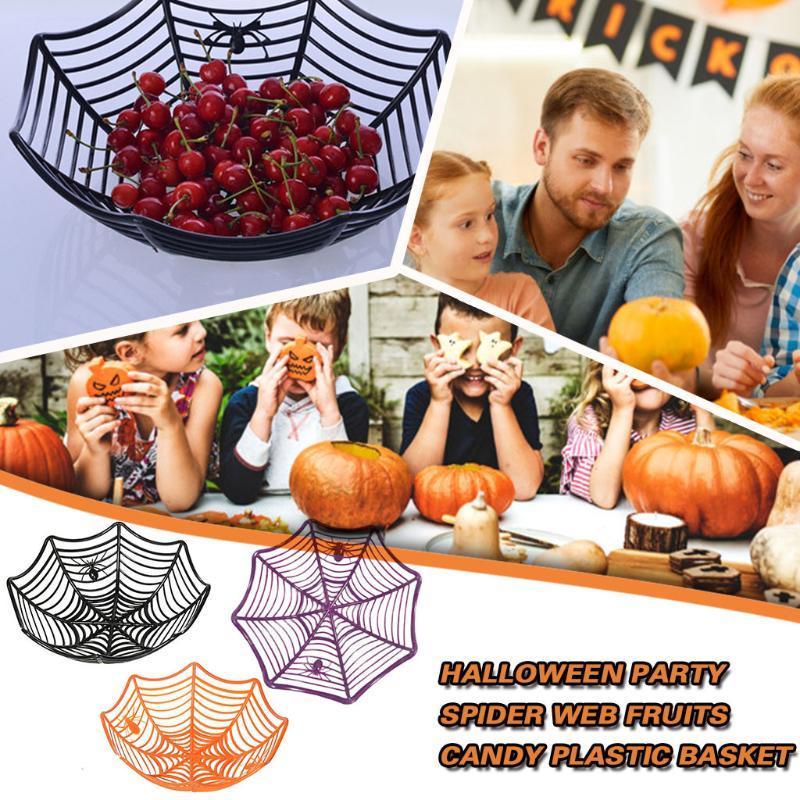 Frutas tela de araña caramelo cesta fiesta de Halloween Telaraña de plástico decoración de la cocina Material Plástico conveniente y práctico # py10