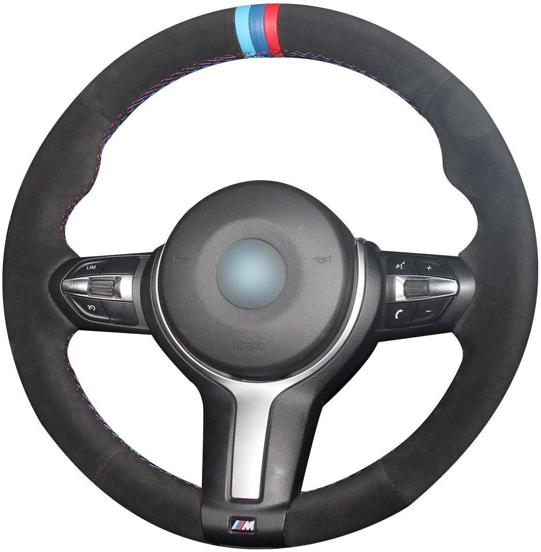 BMW F87 M2 2016-2018 / F80 M3 2015-2018 / F82 M4 2015-2018 M Sport Aksesuarlar için Özel Siyah Süet Direksiyon Kapakları