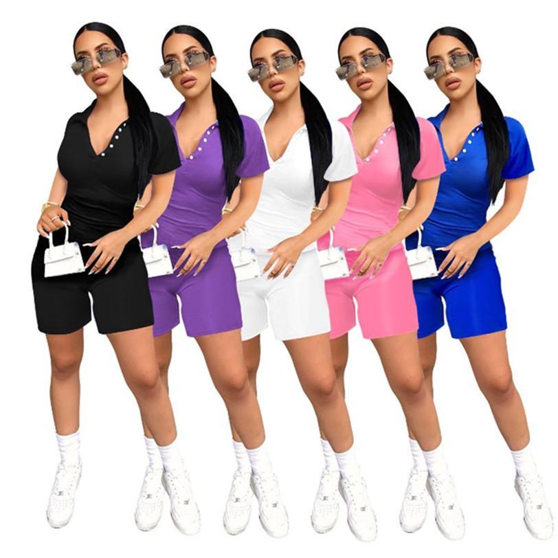 Femmes ordinaires Ensemble 2 pièces short t-shirt jogger costume été décontracté vêtements vêtements pull couleur unie Yogo S-2XL capris Survêtement DHL 3481