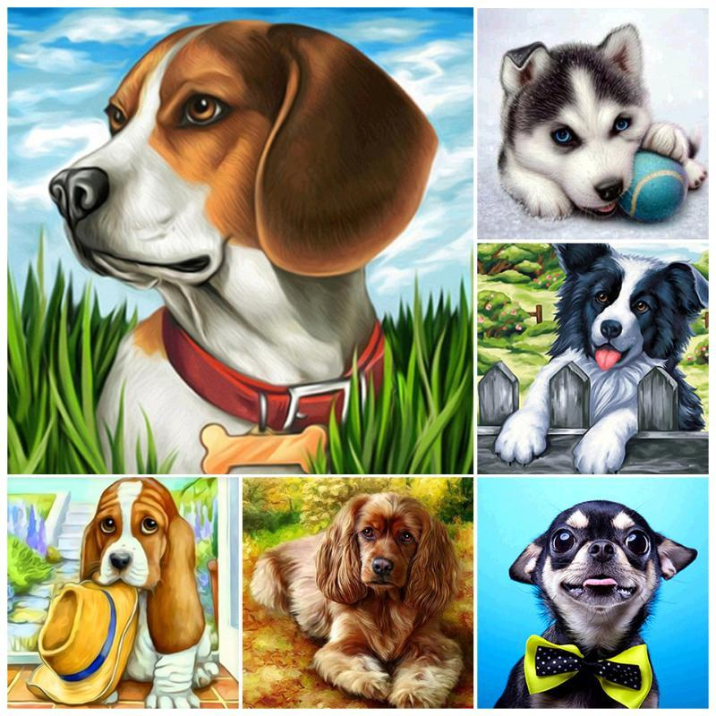 5D DIY Diamond Painting Dog Cartoon Animal Cat Cross Stitch Full Diamond Embroidery Lion Mosaic Rhinestones Decor