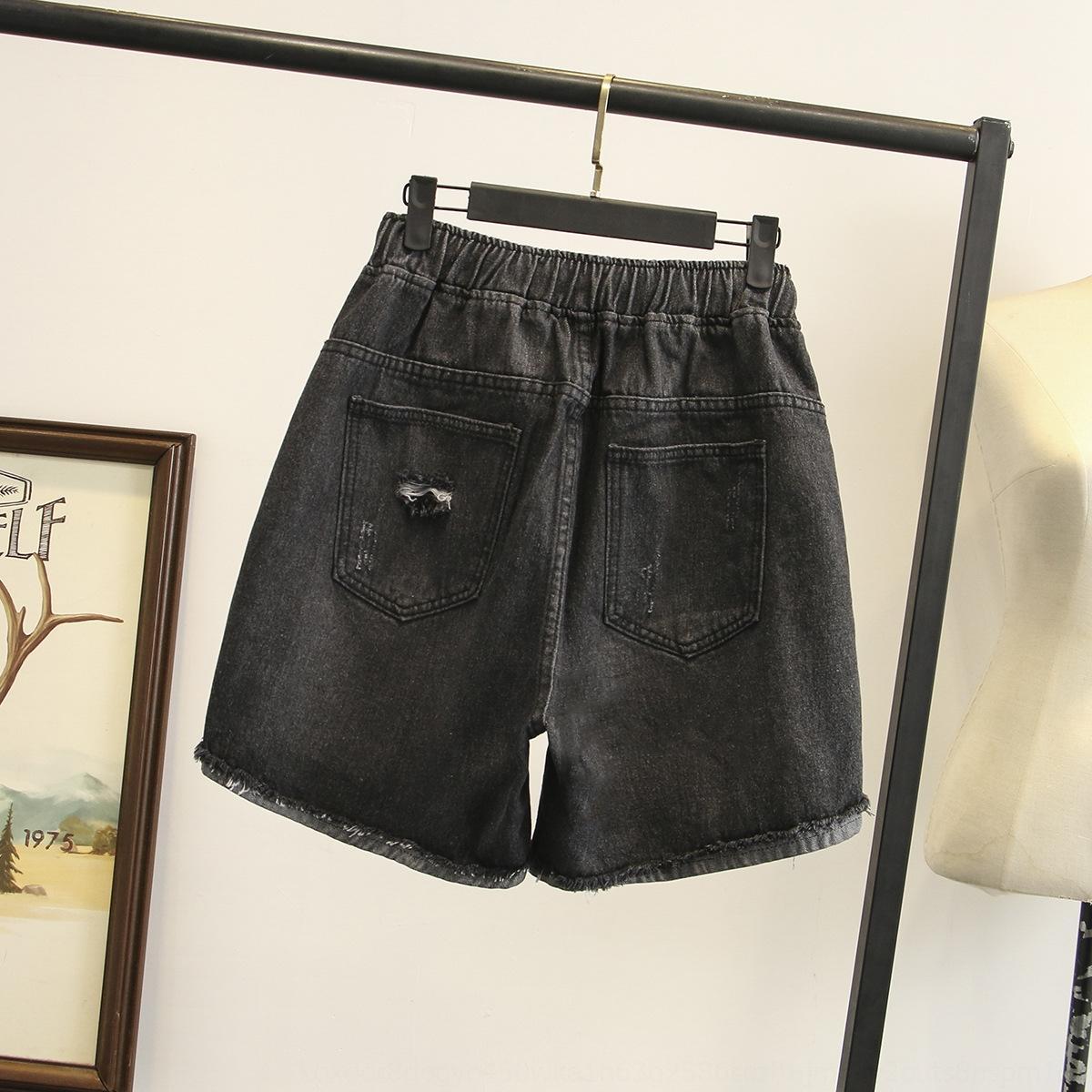 irmã Verão BiyGy Plus Plus tamanho mulheres vestuário 200 Shorts jin hot pants gordura shorts novos maré estilo coreano denim calças quentes rasgado 4091