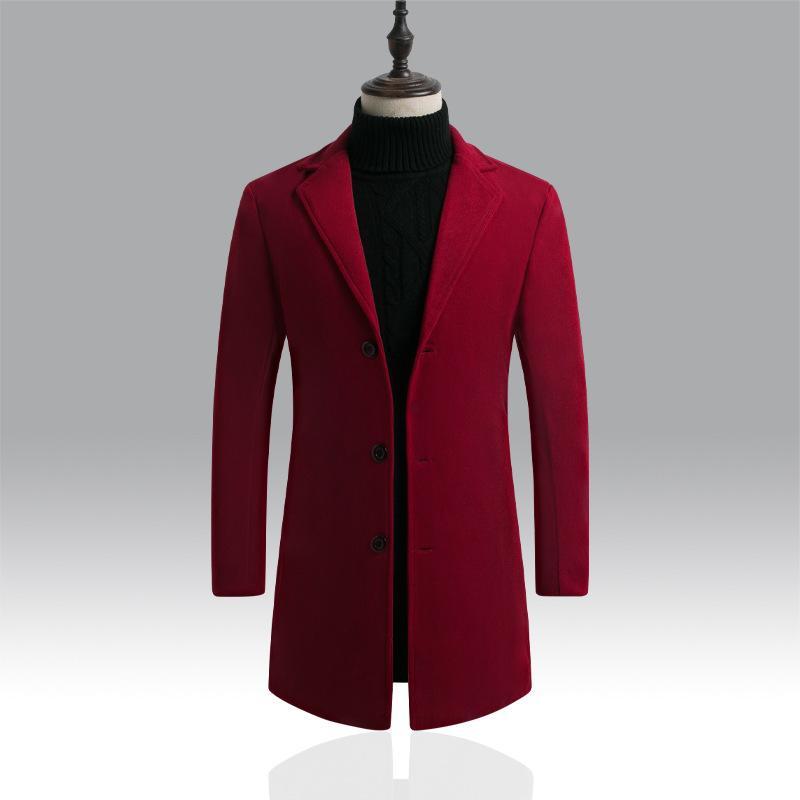 Wine Red Mens Overcoat Winter Clothing Long Blend Coat Male Slim Fit Oversized Woolen Coat for Men Long Sleeve Outerwear Xxxl