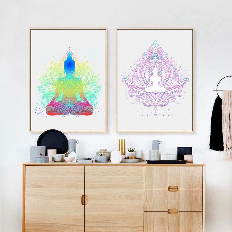 Sitzender Buddha mit Lotus-Blumen-Wand-Kunst-Druck und Plakat, Buddha-Gesicht mit Mandala Wandbildern Leinwand-Malerei Home Decor