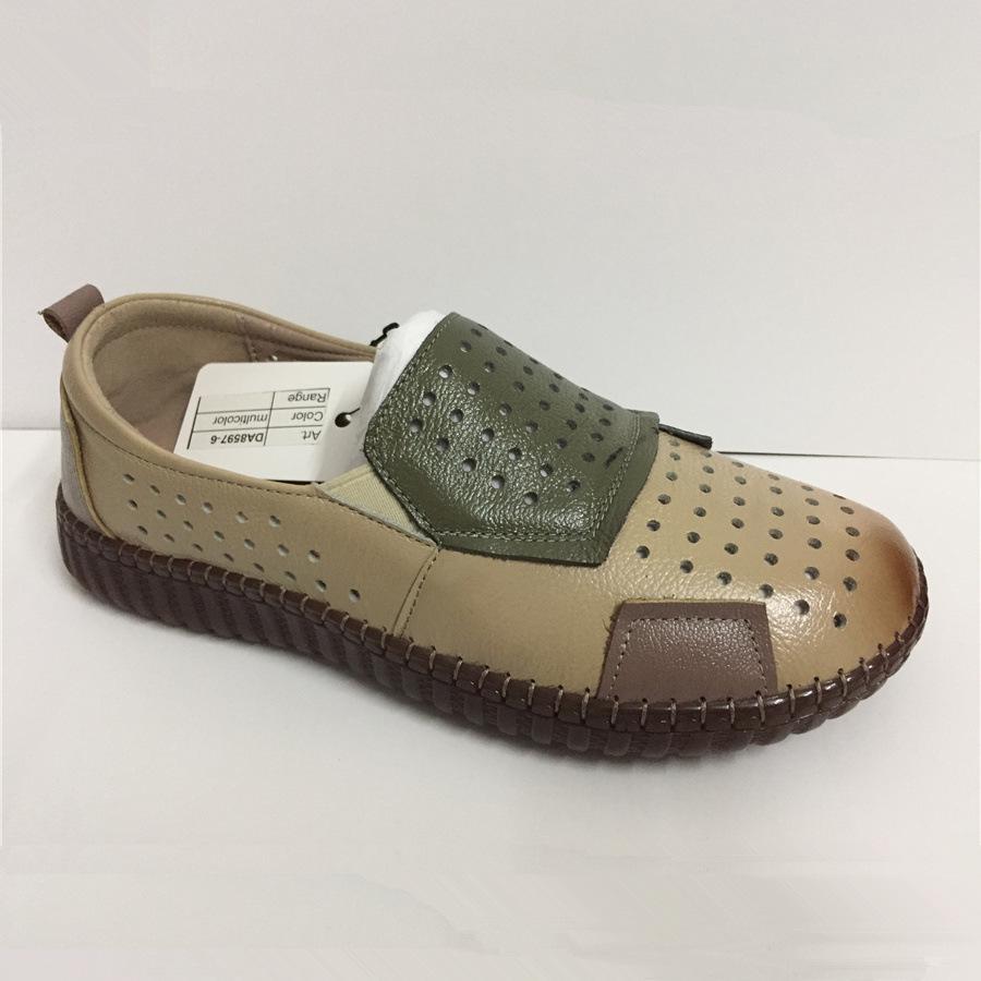 Le donne in pelle di mucca Patchwork piatto scarpe da donna OEM cucito a mano Scarpe Donna confortevole cuoio genuino Calzature TPR morbido Vintage Shoes