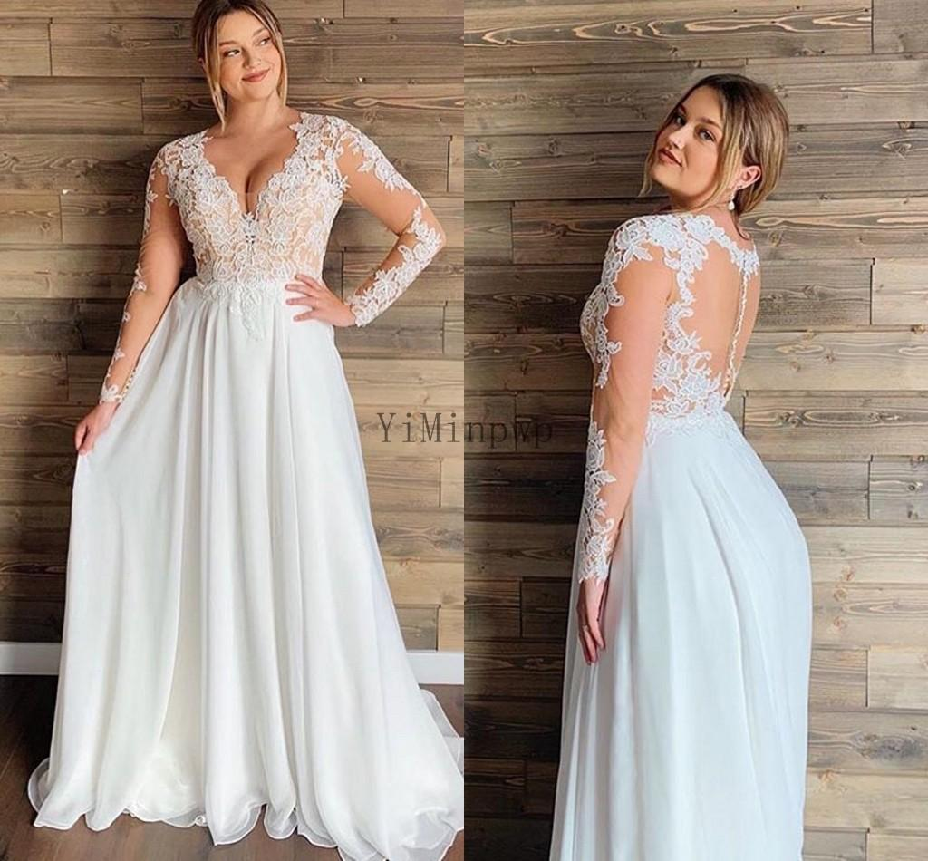 Plus Size Wedding Dresses V Neck Long Sleeve Sweep Train Chiffon Appliques Illusion Bodice Beach Bridal Gowns robes de mariée