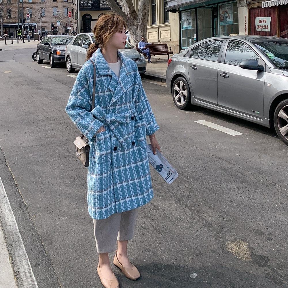 bwPPH grande risvolto di lana 2019 inverno nuovo cappotto di lana cappotto a quadri stile doppio petto pigri delle donne