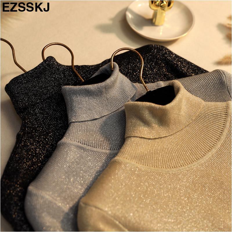 Glitter Turtleneck Y200722 kazak Simli ince baisc bling Shinny Chic Kadınlar Kazak Ve Kazaklar bahar Sonbahar İnce kazak örme