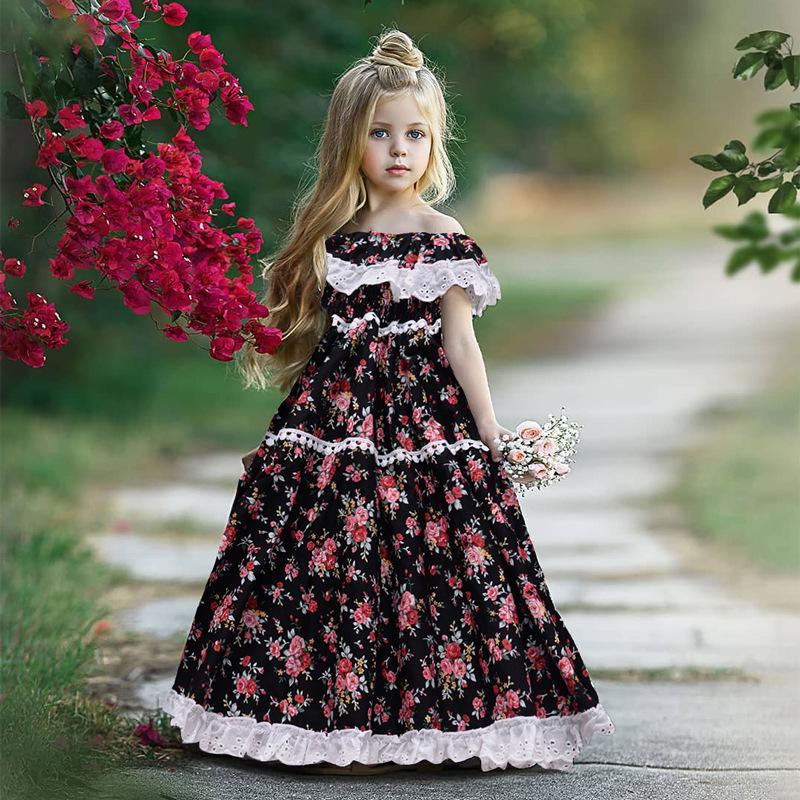 Éachin filles Robes d'été princesse style américain robe fleur Robes longues Bébés filles dentelle fête d'anniversaire pour enfants Robe