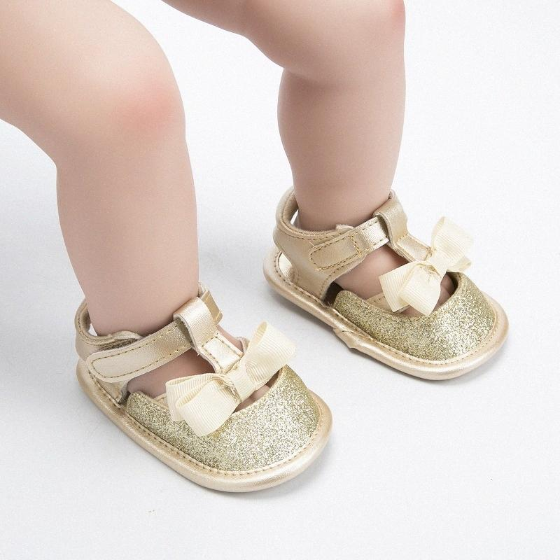 Baby Sandal 0 1 Years Old Sparkling Princess Bow Shoes Toddler Shoes Newborn Cotton Soft First Walker ejMS#