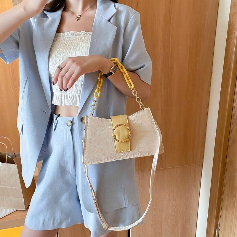 Adatti a donne della borsa della catena di modo della signora Solid Shoulder Bag Alligator PU signore del cuoio Shoulder Bag Messenger