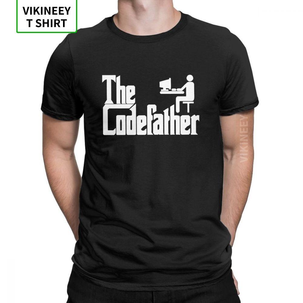 Программист Codefather Men T Shirt Программирование Geek Смешной Хлопок Ткань с коротким рукавом Юмор майка Crew Neck T-Shirt Одежда