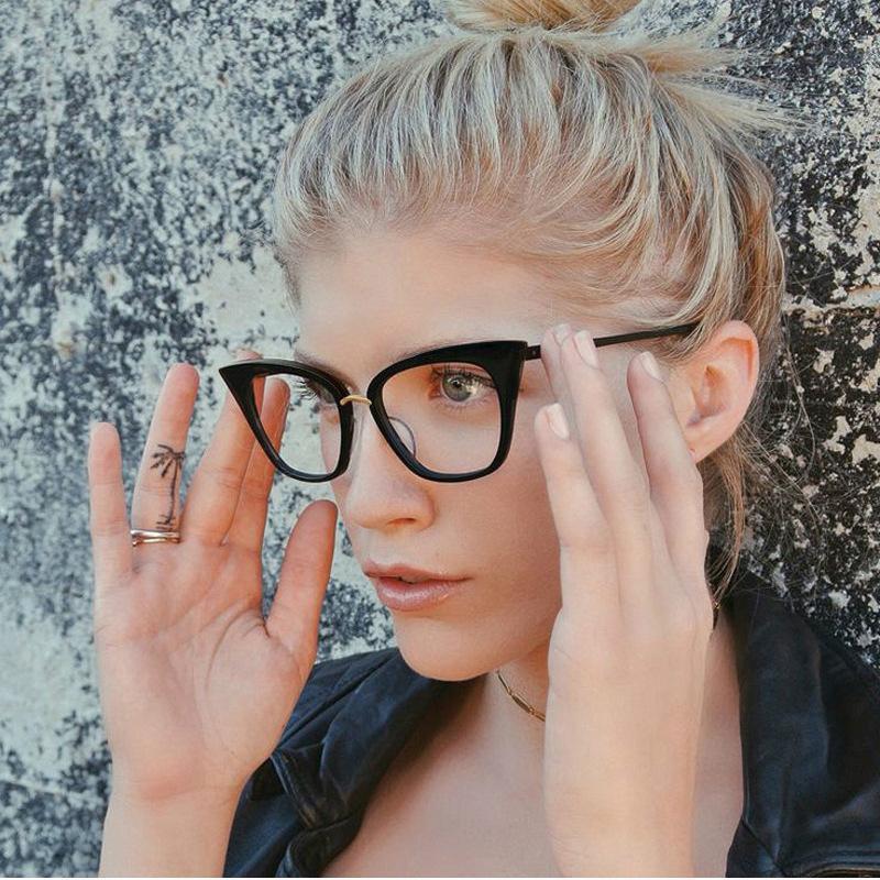 Femme Cat Eyes Precription Lunettes Cadre, Femmes Noir Lunettes de verre optique Frameme pour Myopie presbytie hypermétropie F216