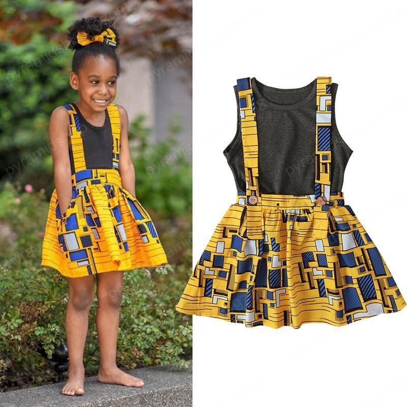 enfants vêtements filles impression style africain boho enfants Hauts sans manches + 2pcs robe de sangle / ensembles bébé été Ensembles de vêtements