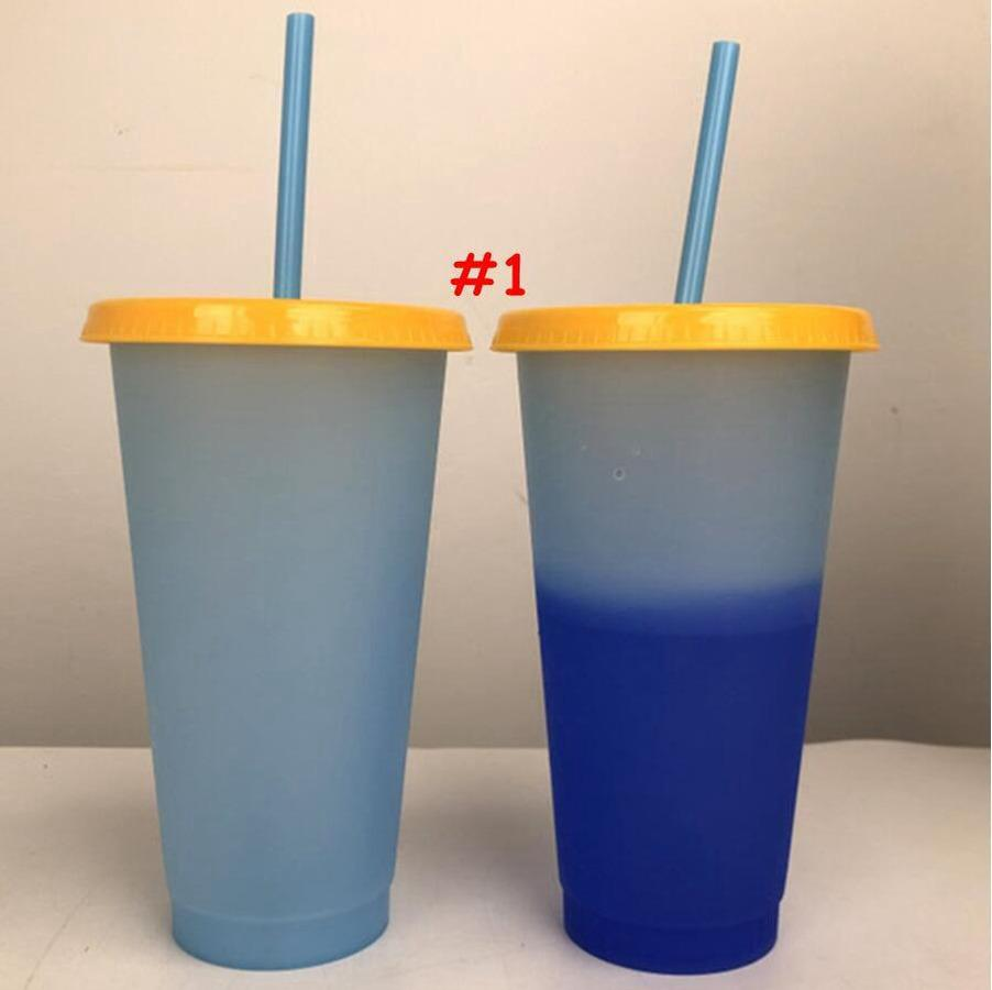 24oz cor mudando copo Magia plástico bebendo copos com tampa e palha reutilizável Cores de doces tazas copo de verão frasco de água de verão