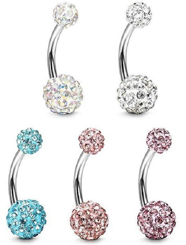 Pulsante donne ombelico anelli di colore di modo d'argento medico metallo strass sexy della pancia monili dell'ombelico anello penetrante corpo