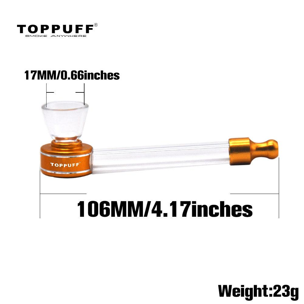 TOPPUFF Metal Glass Hand Pipe Mini Pipe Cheap Bongs Water Heady Pyrex Spoon Bowl Detachable Smoking Oil Rig Dab Burner Tobacco Portable