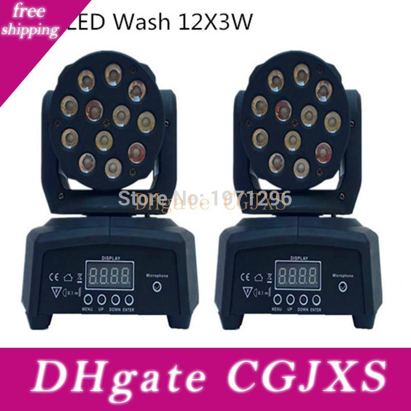2 Pieces Promotional Packaging Dmx Stage Light Led Moving Head Mini Wash 12x3w Rgb Professional Stage &Dj Free &Fast Shipping