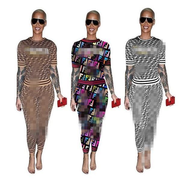 Женская модельера костюмы Sweatsuits Outfit пуловер Письмо печати Костюмы с длинным рукавом Повседневные 2 Двухкусочный Pant Одежда Хлопковые рубашки