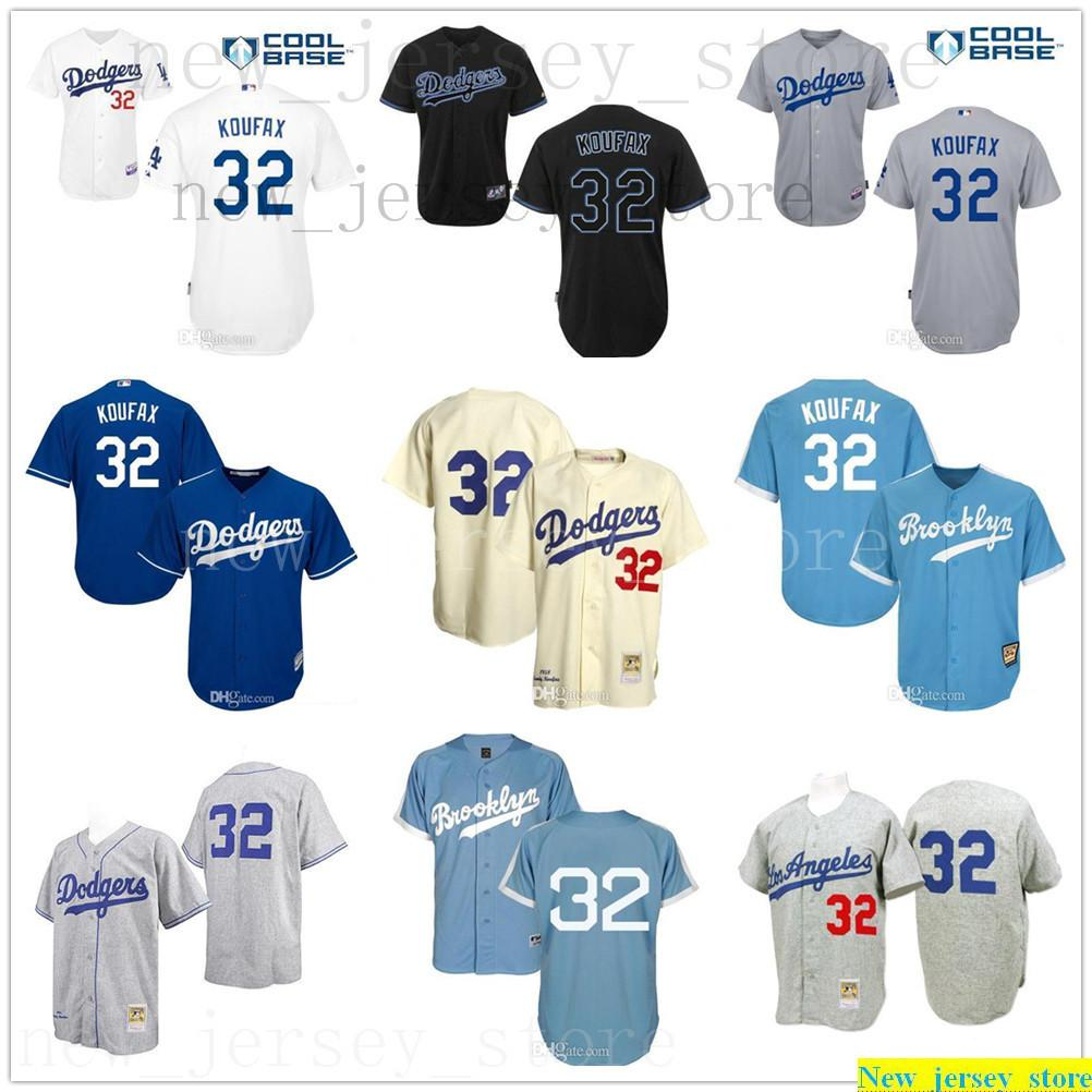 Gris claro azul crema arena retro koufax jerseys para hombres mujeres niños # 32 Top Calidad de alta calidad Jerseys de béisbol