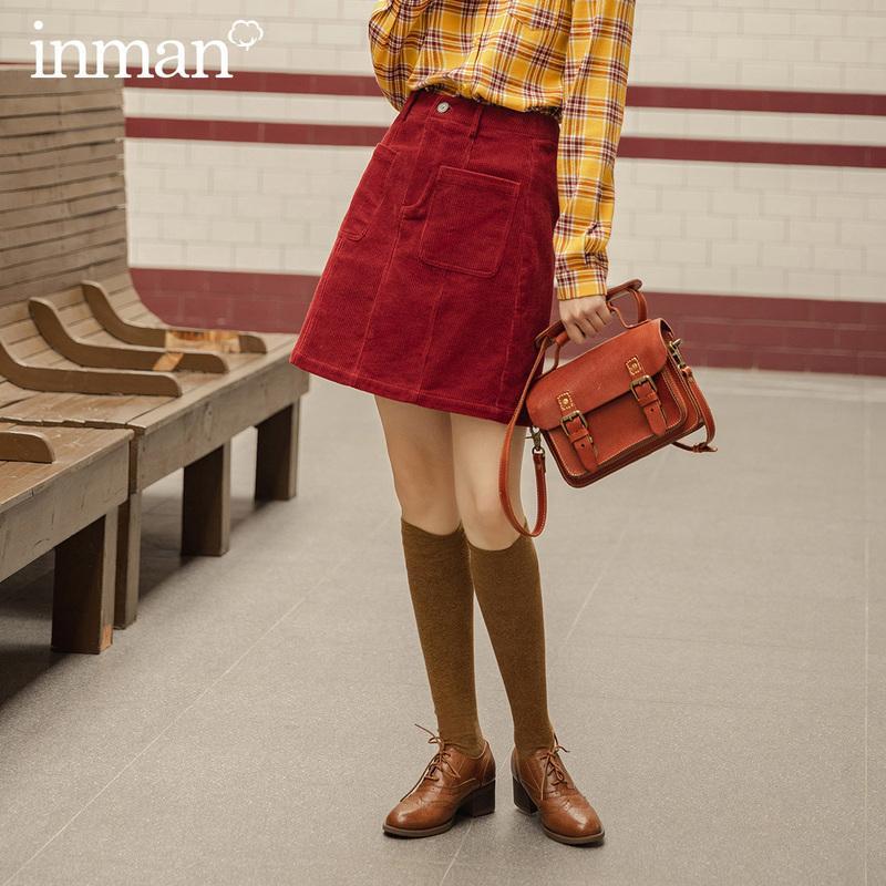 INMAN 2020 otoño nueva llegada Mujeres Forma una línea patrón de rayas de algodón de señora Skirt Fit