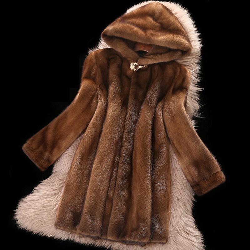Haut Faux Manteau Femme 2020 Nouveau Taille Plus 6XL longueur moyenne Tops hiver Hooded Femme Thicken Brown Manteaux