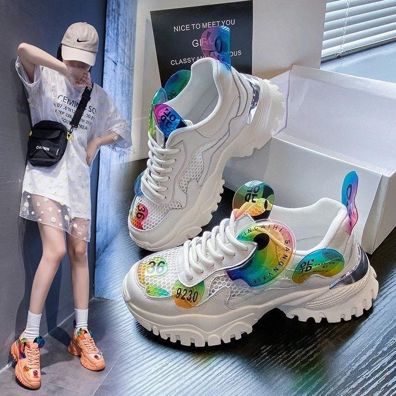 Neue Frauen-Plattform Chunky Sneakers 6cm Hohe Lace-up beiläufige Schuhe Vulcanize Luxuxentwerfer Old Dad Female Fashion Sneakers 2020 3U0S #
