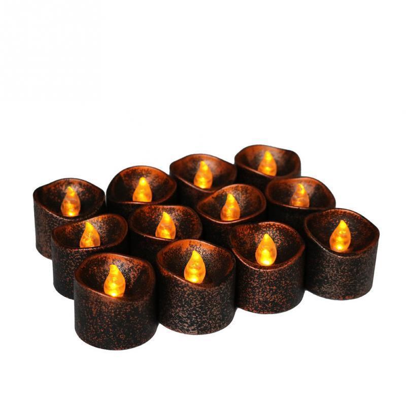 2pcs пластика PP желтого Мерцание батарея Электрические Светодиодные свечи 3,6 * 3.4cm беспламенной Чайные огни для Рождественской Хэллоуин украшения свадьбы