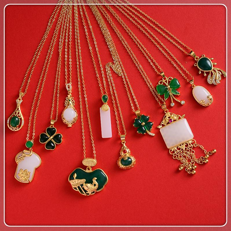 Großhandel fein grün jade / tiger auge stein anhänger halskette für frauen grün malaysian jade china alte maskottchen 24k vergoldet schmuck
