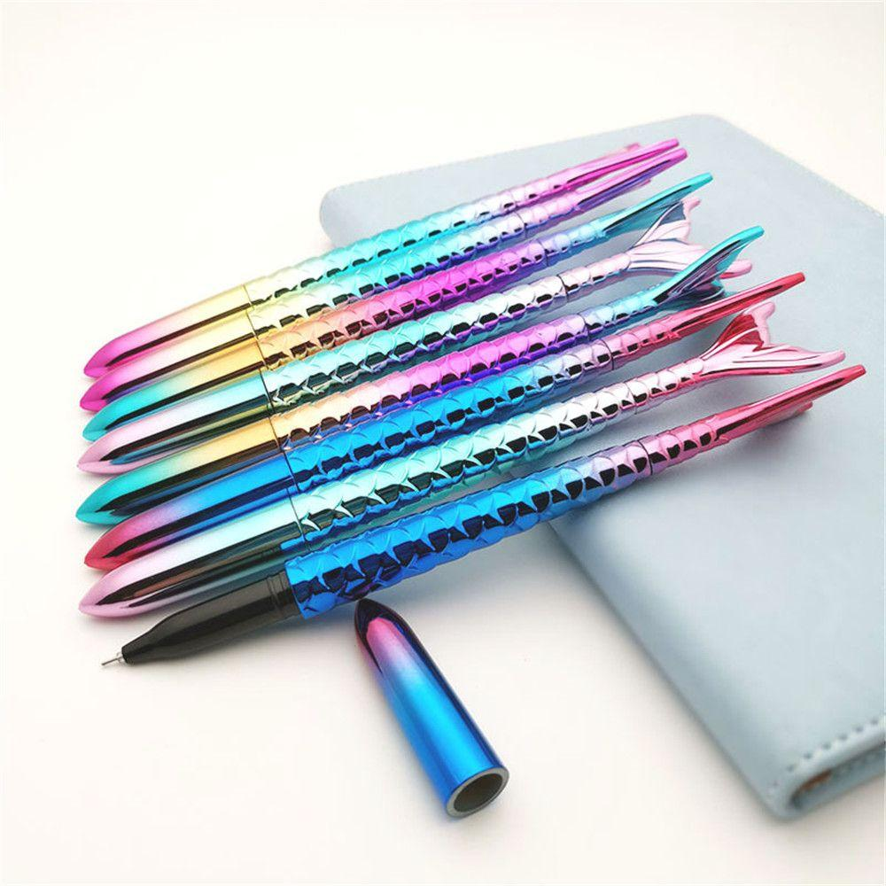 2pcs bonito Gel Pen 0,38 milímetros de tinta preta papelaria Needle Kawaii Assinatura presentes Canetas crianças fada sereia fontes forma Escola Escritório