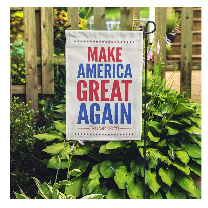Faire Amérique Great Again Drapeaux Garden, Impression 100D Polyester une couche, Impression numérique, Livraison gratuite
