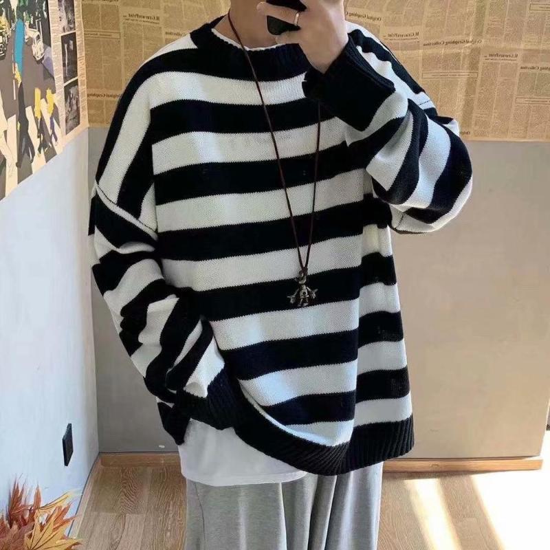 Мужчины Полосатого Casual вязаных свитеров для мужчин Корейского Коллажа Осени Пуловер Топы Мужской Моды O-образный вырез свитера Негабаритного