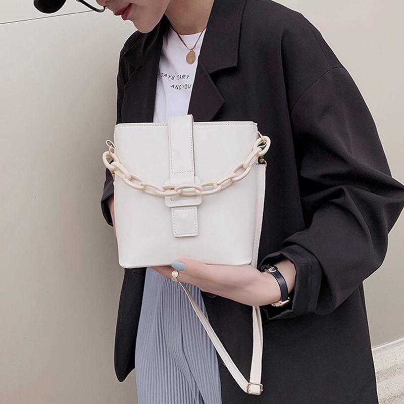 Taschen Solid Casual Eimer Hand Frauen Schulterketten Tasche KFKCC