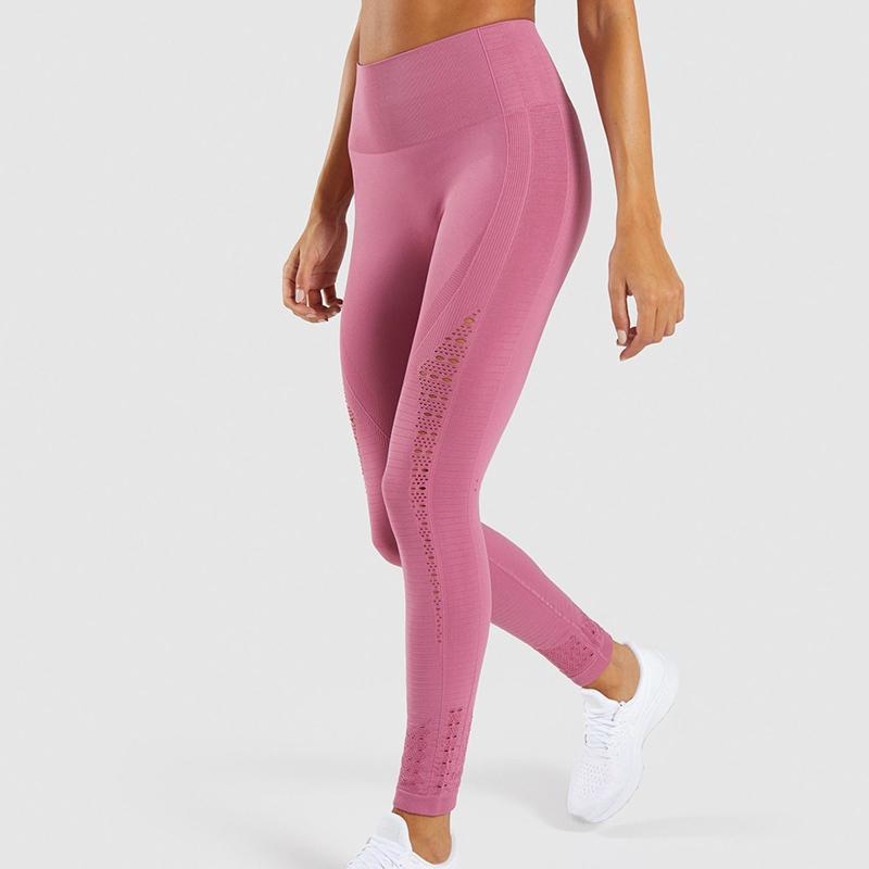 2019 pantalones de la yoga de la Nueva Energía sin fisuras de las polainas de la alta cintura de las mujeres rosadas superelastizado botín deporte las polainas Squatproof Gimnasio Medias