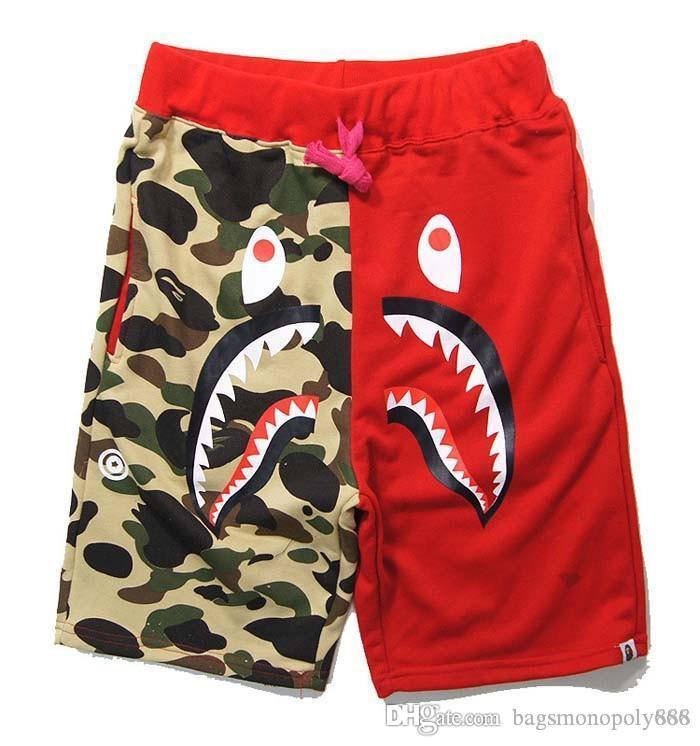 Mens Designer Sommer kurze Hosen Haifisch-Kopf Camouflage Shorts HipHop Street Men Casual Shorts Männer Jogginghose