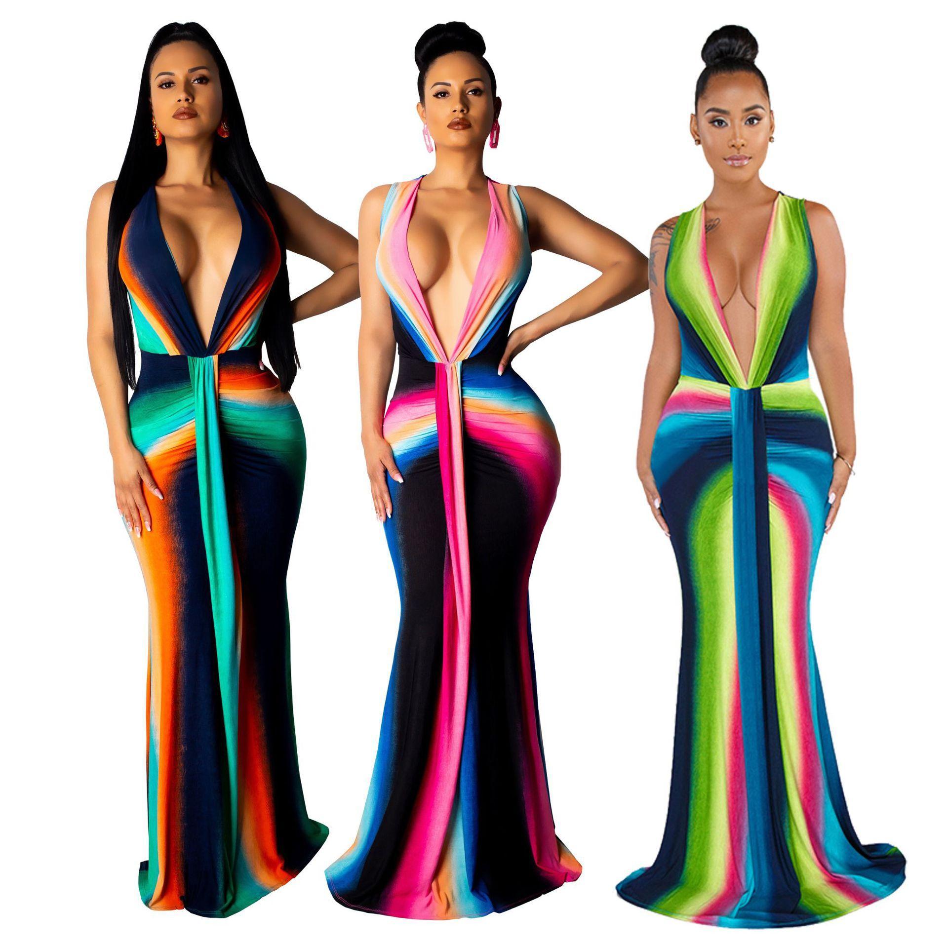 Designer Femmes Patchwork à rayures Robes Casual manches col en V profond Femmes Mode Robes Robe taille naturelle