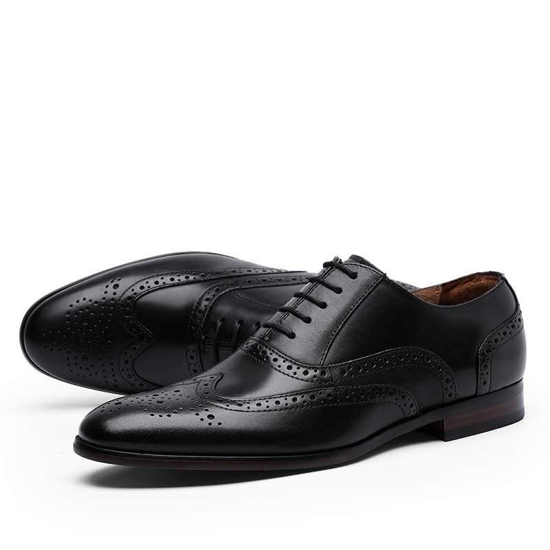 Sapatos de couro de vaca Oxford vestimenta para homens Cap Toe Lace up 2020 Outdoor Caminhadas Escritório de vestido de alta qualidade sapatos para homens