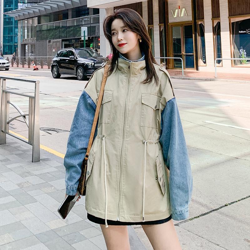 Ветровка женская Корейский Строчка джинсовой пальто весна осень 2020 Новая мода поддельные из двух частей Свободный Свободный Trench женский W90