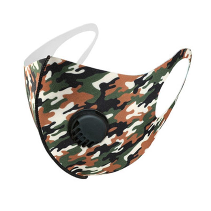 Designer adulte Ice Silk Masques Visage Camo Drapeau américain sur mesure de protection respiratoire Valve anti-poussière Earloop Tissu Masques FY0032