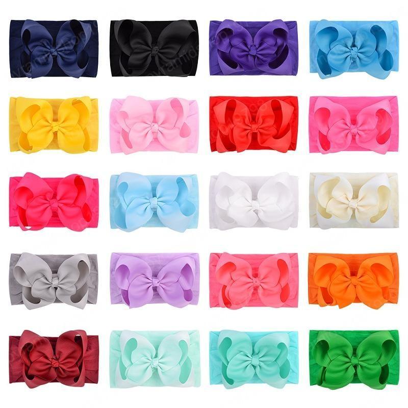 Baby Girls Bow Headbands Kids Nylon elastic Bowknot Hairbands Hair Accessories Grosgrain Hair Band Turban Knot Headdress