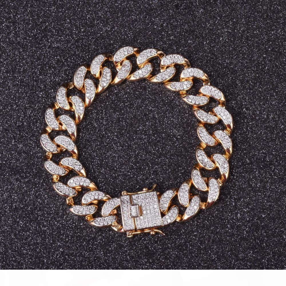 14 millimetri zircone Curb Cuban Link Bracelet Mens Hip Hop Gioielli d'oro pesante spesso materiale di rame ghiacciato fuori la catena Cz 20 centimetri Nuovo