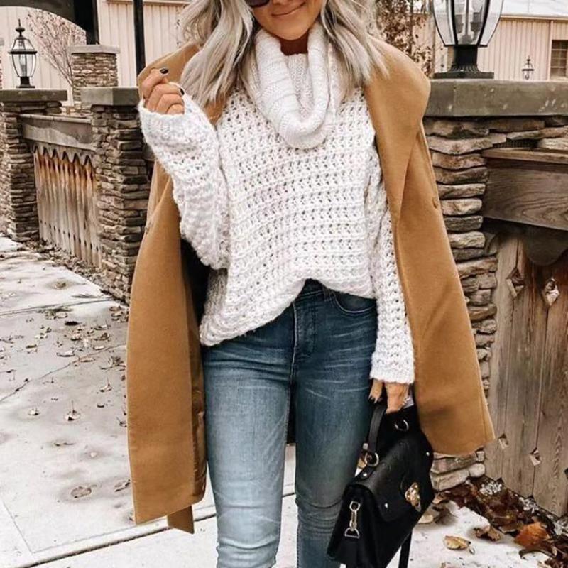 Fashion Herbst-Winter-Frauen-Damen Volltonfarben Rollkragen Pullover-lose lange Hülsen-Strickjacke Strickoberteile Strickware # g3 Tops
