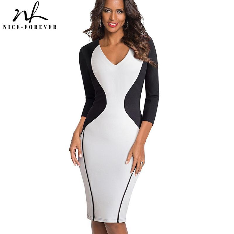 Nice-forever Vintage Contrast Color Patchwork Dresses Bodycon Office Formal Business Bodycon Women Fitted Dress btyB421