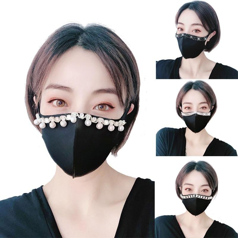 6 Stil Tasarımcı Siyah Toz Flaş Elmas Yapay elmas Pamuk tasarımcı yüz maskeleri Yetişkin XD23671 ile Güneşlik Maske