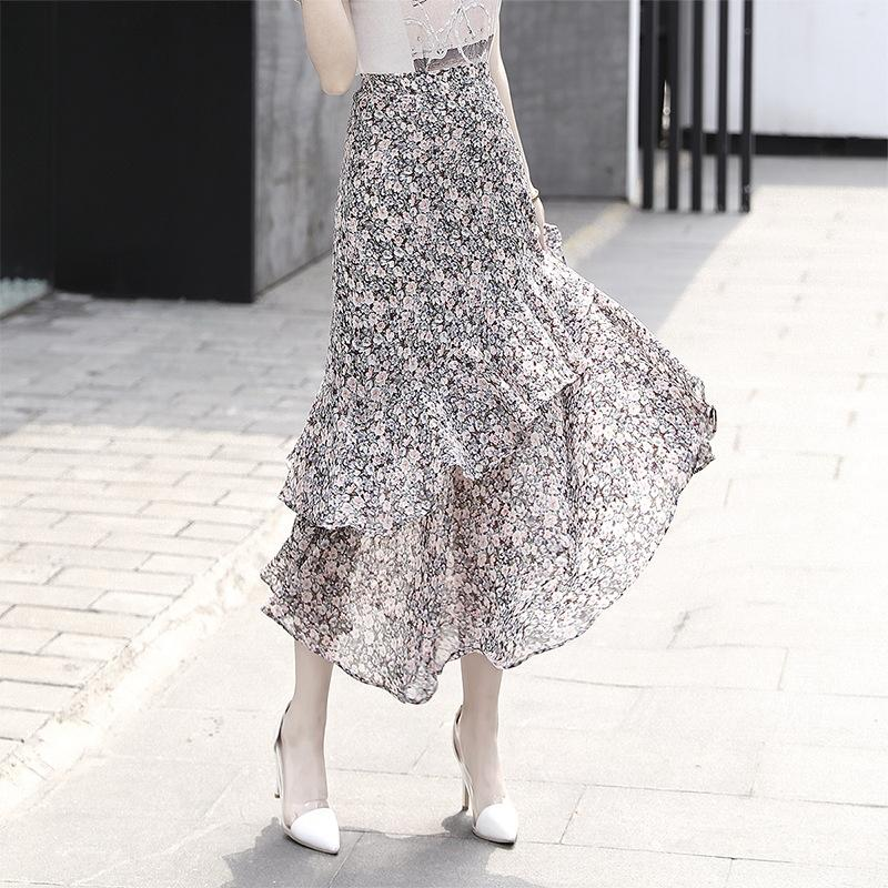 Summer floral cake cake new chiffon flounced skirt oil painting style skirt with TikTok