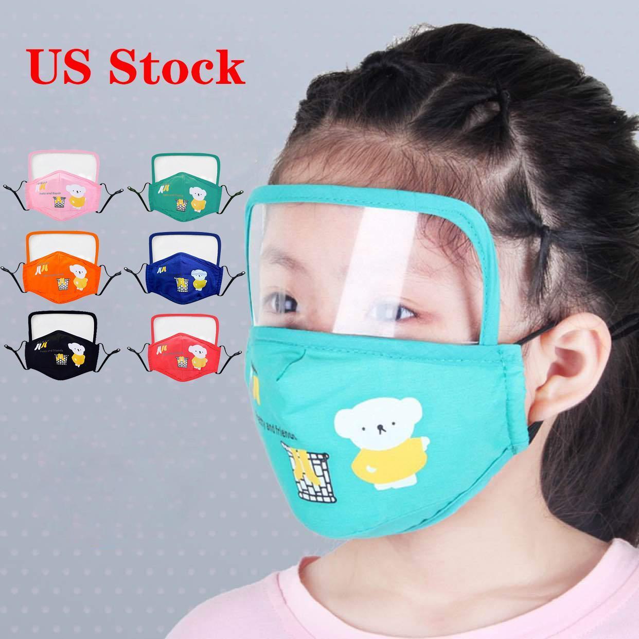 DHL Livraison En stock Lavable réutilisable EPI enfants visage Masques Bouclier yeux Masque anti-poussière Masques brouillard visage Bouche anti-poussière Lunettes extérieure