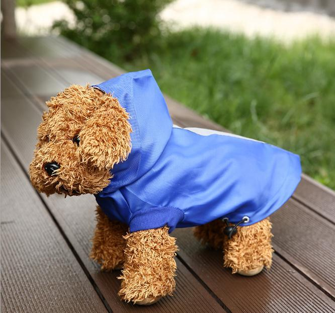 Newest Whole Sale High Quality Summer Dog Hooded Reflective Waterproof Dog Clothing Small Dog Pet Raincoat Pet Clothing
